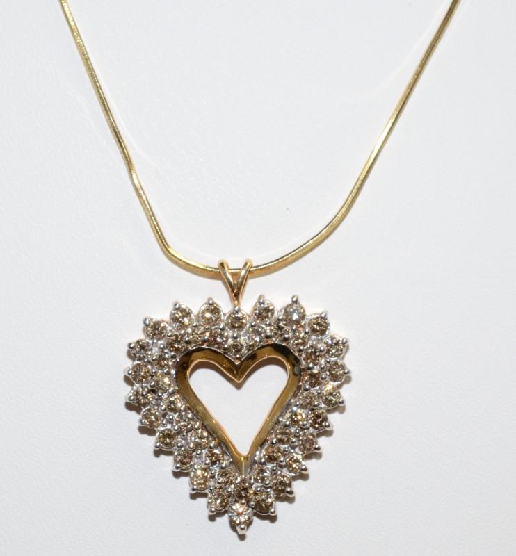 Diamond Necklace 46 Diamonds 3.68 Carat T.W. 14K Yellow Gold 13.51g