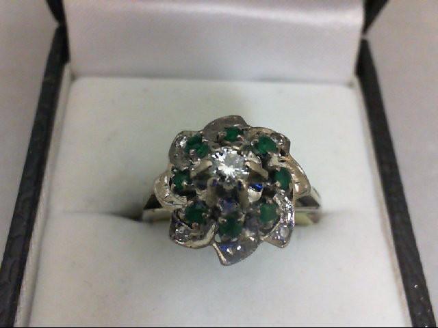 Emerald Lady's Stone & Diamond Ring 5 Diamonds 0.22 Carat T.W. 18K White Gold 5.