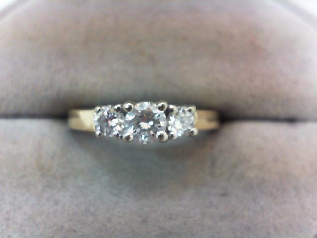 Lady's Diamond Engagement Ring 3 Diamonds .47 Carat T.W. 14K Yellow Gold 3.1g