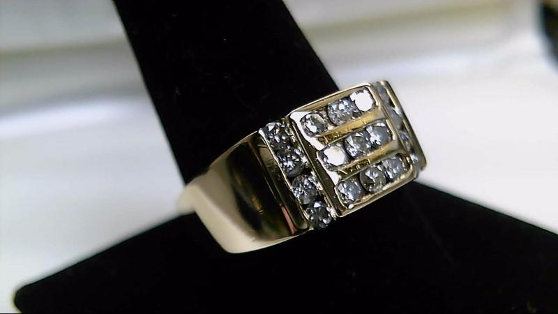 Gent's Diamond Cluster Ring 17 Diamonds 1.36 Carat T.W. 14K Yellow Gold 12.9g