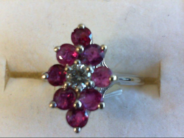 Ruby Lady's Stone & Diamond Ring .15 CT. 14K White Gold 2.9g