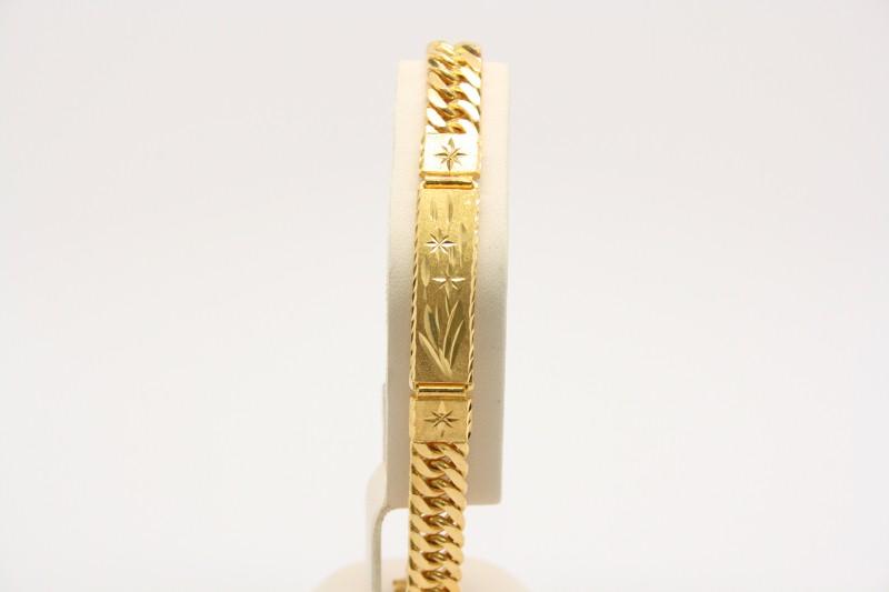 I.D BRACELET WITH FANCY DESIGN 24K YELLOW GOLD 40.3g