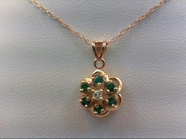Emerald Gold-Diamond & Stone Pendant 0.03 CT. 14K Yellow Gold 1.8g
