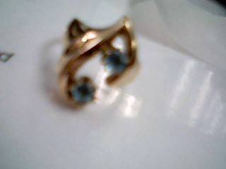 Synthetic Blue Topaz Lady's Stone Ring 14K Yellow Gold 7.3g Size:7