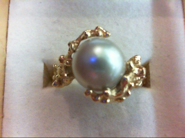 Pearl Lady's Stone Ring 14K Yellow Gold 5.21g Size:7