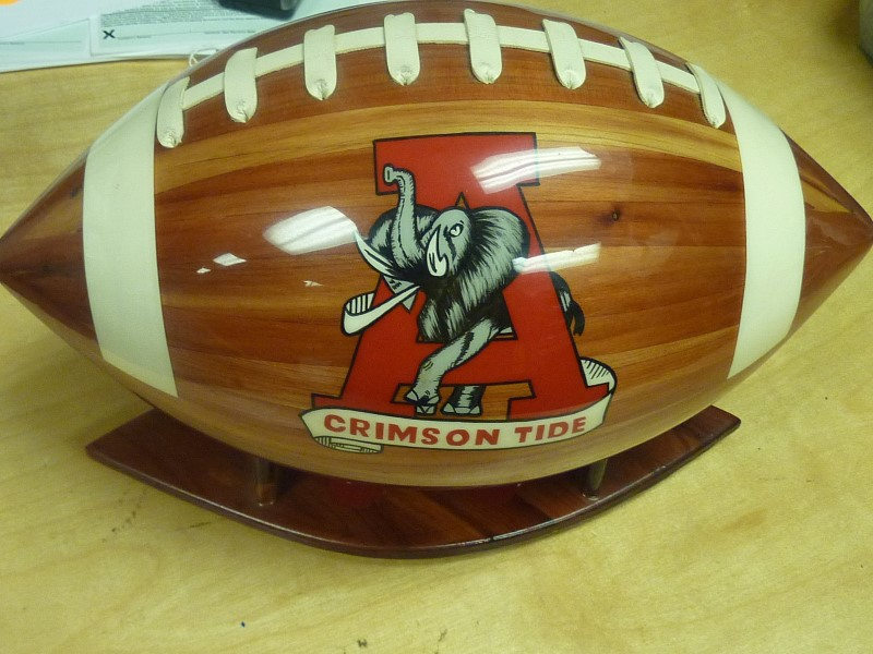 2 HAND MADE ALABAMA COMMEMORATIVE WOODEN FOOTBALLS.