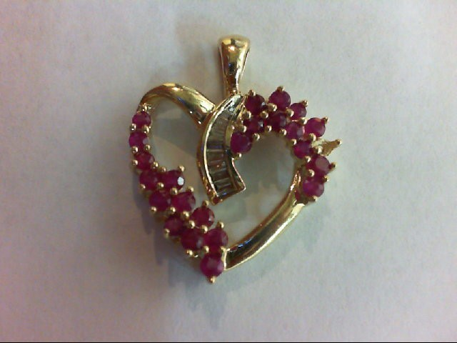 Ruby Gold-Diamond & Stone Pendant 8 Diamonds 0.16 Carat T.W. 10K Yellow Gold 4.1