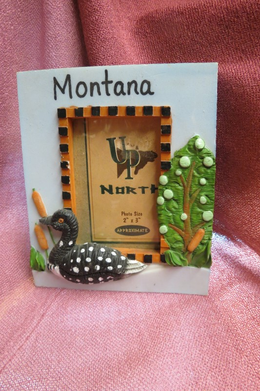 "UP NORTH MONTANA LOON PHOTO FRAME, 2"" X 3"" REVEAL"