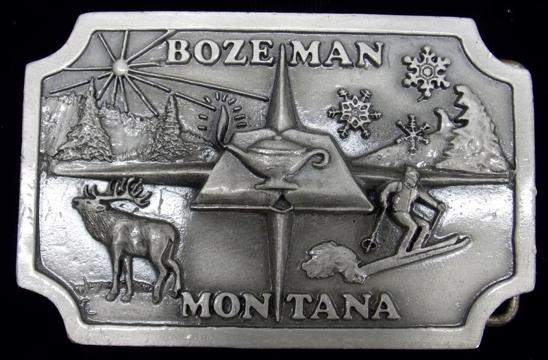 BOZEMAN MONTANA COLLECTORS EDITION BELT BUCKLE #029/800, PEWTER