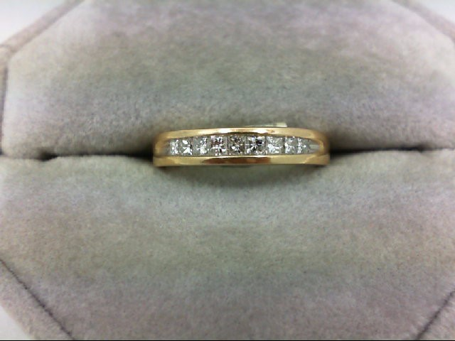 Lady's Diamond Wedding Band 9 Diamonds 0.45 Carat T.W. 14K Yellow Gold 3g Size:4