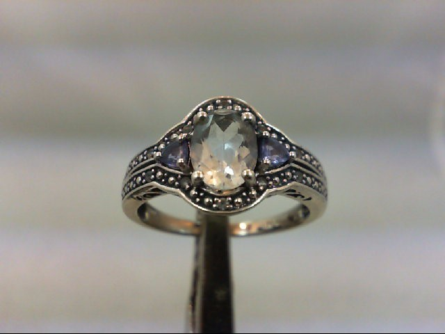 Blue Stone Lady's Silver & Stone Ring 925 Silver 3.3g