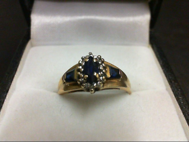 Sapphire Lady's Stone Ring 10K Yellow Gold 1.7g