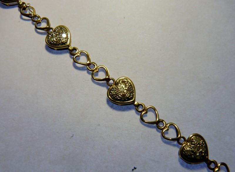 Gold-Diamond Bracelet 25 Diamonds .25 Carat T.W. 10K Yellow Gold 1.9dwt