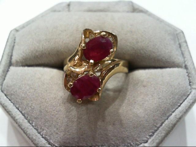 Ruby Lady's Stone & Diamond Ring 10 Diamonds .10 Carat T.W. 14K Yellow Gold