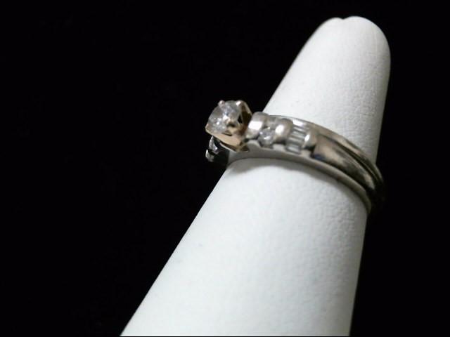 Platinum-Diamond Wedding Set 5 Diamonds .30 Carat T.W. 950 Platinum 6.2g Size:7