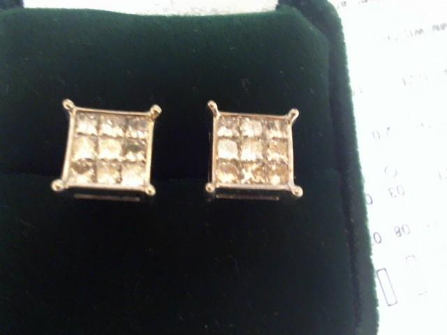 Gold-Diamond Earrings 18 Diamonds 1.98 Carat T.W. 14K Yellow Gold 1.8dwt
