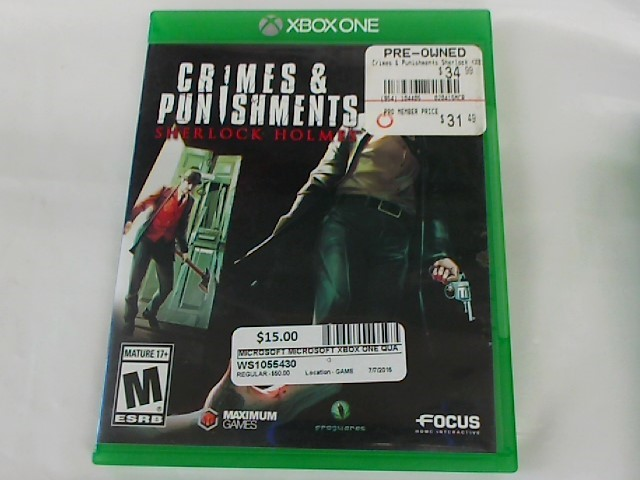 XBOX ONE GAME CRIMES AND PUNISHMENTS SHERLOCK HOLMES