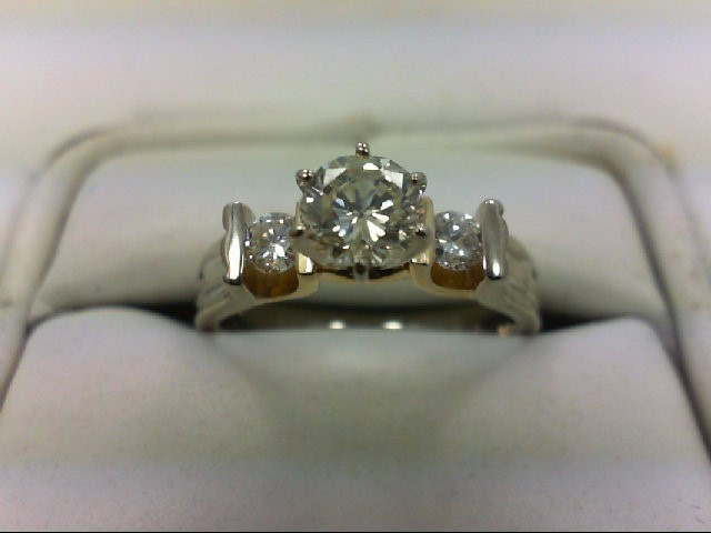 Lady's Diamond Engagement Ring 3 Diamonds .70 Carat T.W. 14K 2 Tone Gold 4.15g