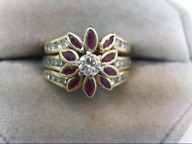 Lady's Diamond Wedding Set 27 Diamonds .74 Carat T.W. 14K Yellow Gold 6.9g