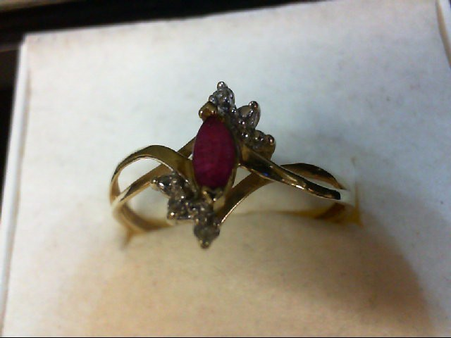 Ruby Lady's Stone & Diamond Ring 2 Diamonds 0.02 Carat T.W. 10K Yellow Gold 1.4g
