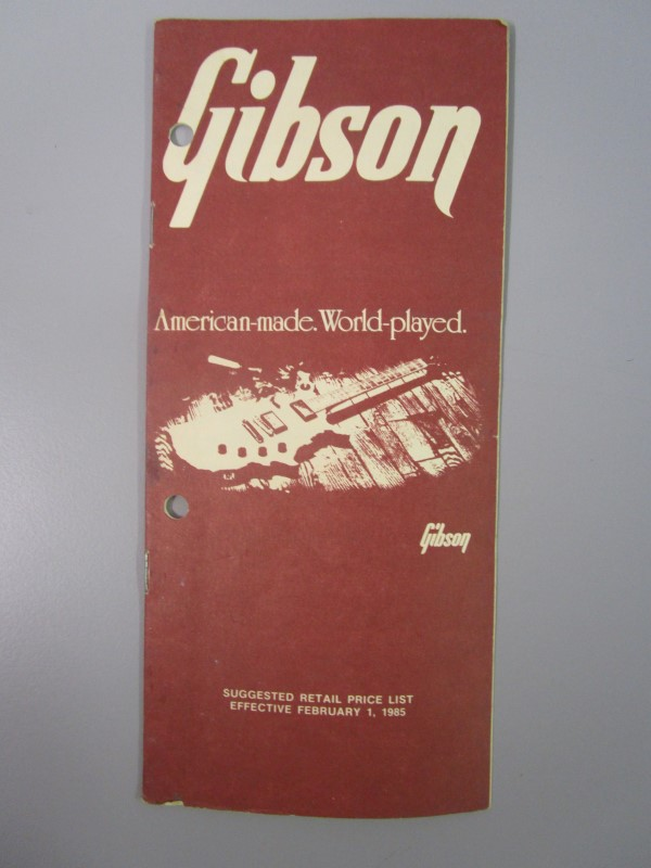 1985 GIBSON GUITAR SUGGESTED RETAIL PRICE LIST BROCHURE, EFFECTIVE FEBRUARY 1, 1