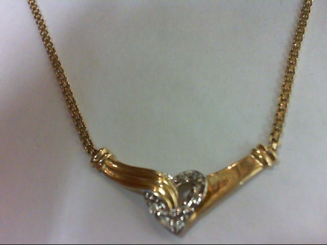 Diamond Necklace 3 Diamonds 0.03 Carat T.W. 14K Yellow Gold 3.4g