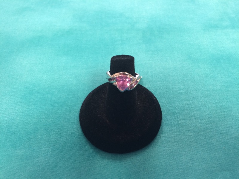 Pink Stone Lady's Stone Ring 10K White Gold 2dwt