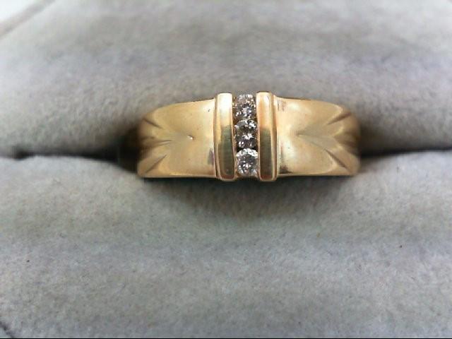 Lady's Diamond Wedding Band 3 Diamonds 0.12 Carat T.W. 14K Yellow Gold 3.9g Size
