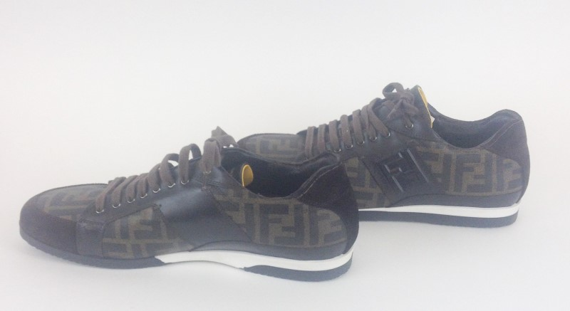 FENDI BROWN SIGNATURE MONOGRAM LACE UP SNEAKERS SIZE 10 US WITH BOX