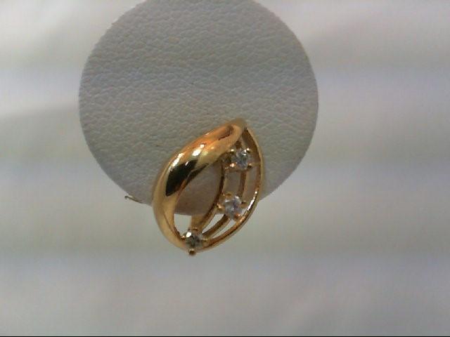Gold-Diamond Earrings 6 Diamonds .12 Carat T.W. 14K Yellow Gold 2.2g