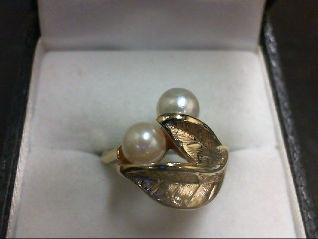 Pearl Lady's Stone Ring 14K Yellow Gold 4g