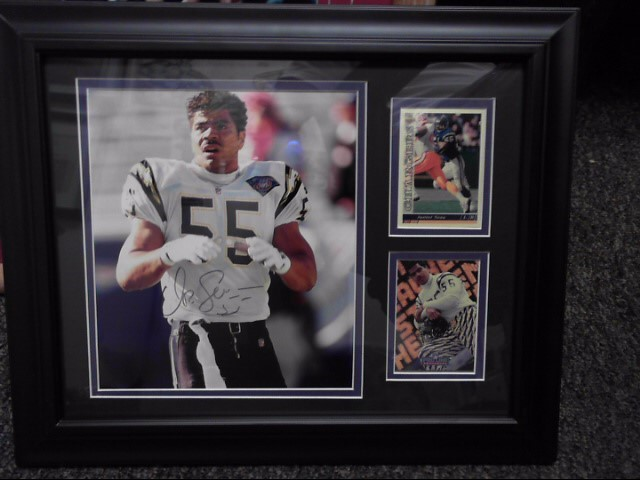 JUNIOR SEAU AUTOGRAPHED PHOTO AND CARD PROFESSIONALLY MATTED AND FRAMED W COA