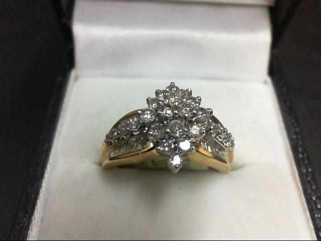 Lady's Diamond Cluster Ring 56 Diamonds 0.96 Carat T.W. 14K Yellow Gold 4.9g