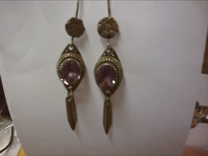 TWO OVAL AMETHYST WITH ROPE ACCENT EARRINGS
