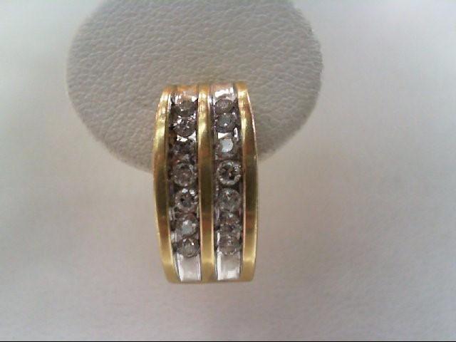 Gold-Diamond Earrings 28 Diamonds .84 Carat T.W. 14K Yellow Gold 4.6g