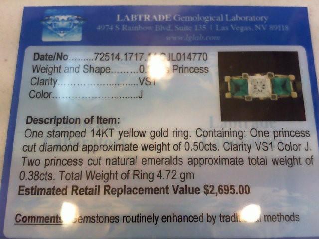 Emerald Lady's Stone & Diamond Ring .50 CT. 14K Yellow Gold 4.72g