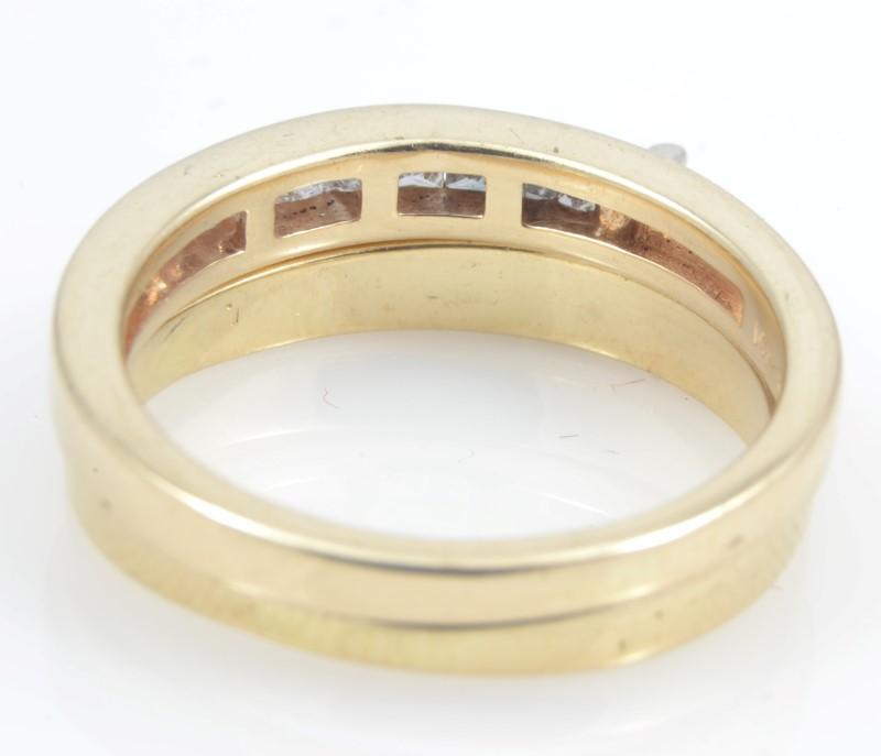 ESTATE DIAMOND RING BAND WEDDING SET SOLID 14K GOLD PRINCESS CUT S 6