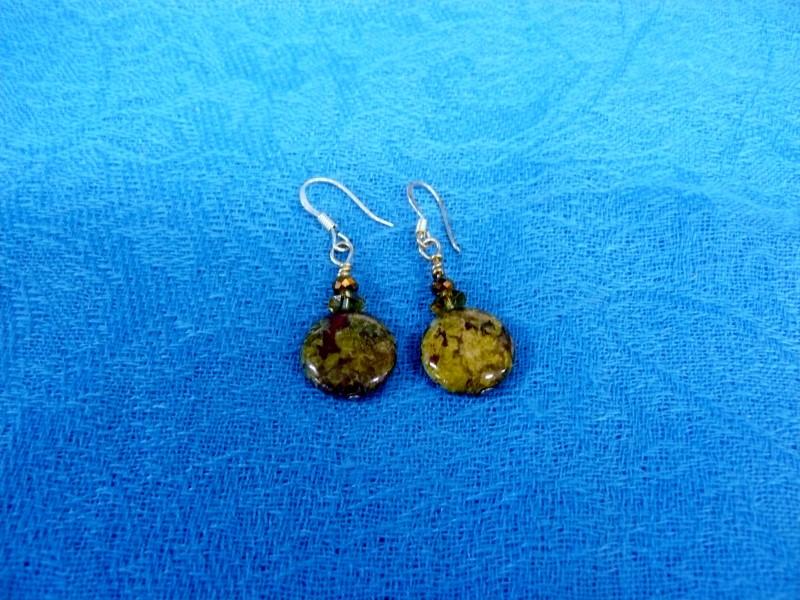 Green Stone Silver-Stone Earrings Silver Plate 3dwt