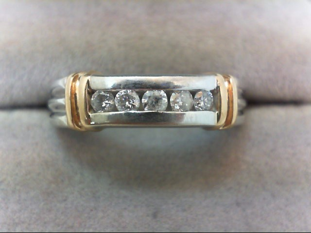 Lady's Diamond Wedding Band 5 Diamonds .25 Carat T.W. 14K 2 Tone Gold 4.4g