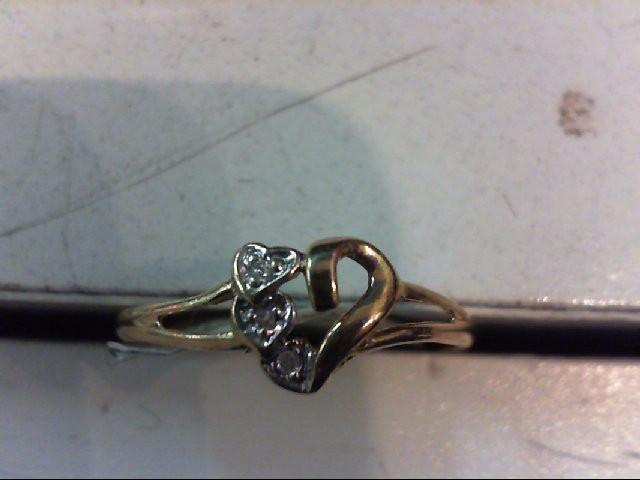 Lady's Diamond Fashion Ring 3 Diamonds .015 Carat T.W. 10K Yellow Gold 1g