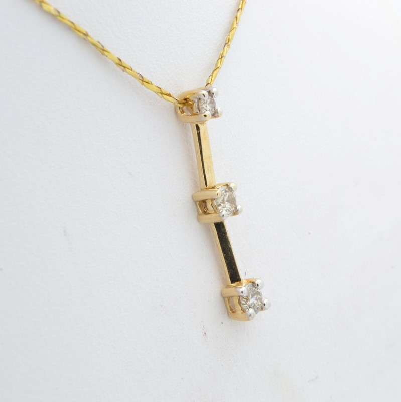 ESTATE 3 DIAMOND PENDANT CHARM SOLID 14K GOLD PAST PRESENT FUTURE
