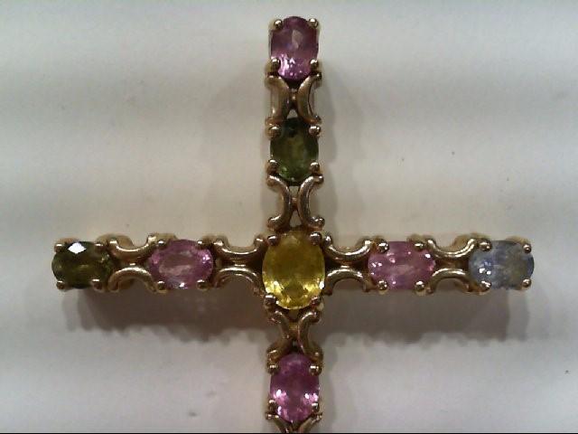 Beautiful Multi-Birthstone Gem Gold Cross Pendant Citrine 14K Yellow Gold 5.1g
