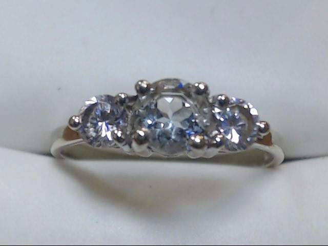 Synthetic Cubic Zirconia Lady's Stone Ring 10K White Gold 1.7g Size:7