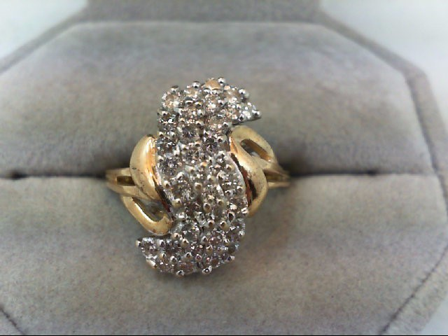 Lady's Diamond Cluster Ring 33 Diamonds .76 Carat T.W. 10K Yellow Gold 3.7g