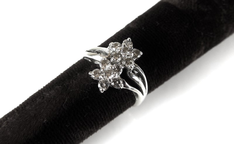 Lady's Diamond Cluster Ring 12 Diamonds .48 Carat T.W. 14K White Gold 2.5g