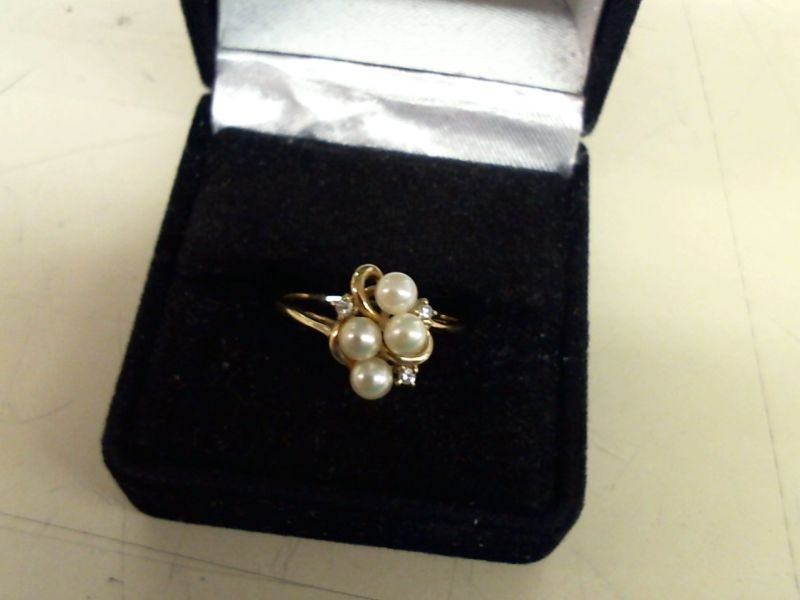 Synthetic Pearl Lady's Stone & Diamond Ring 3 Diamonds .03 Carat T.W.