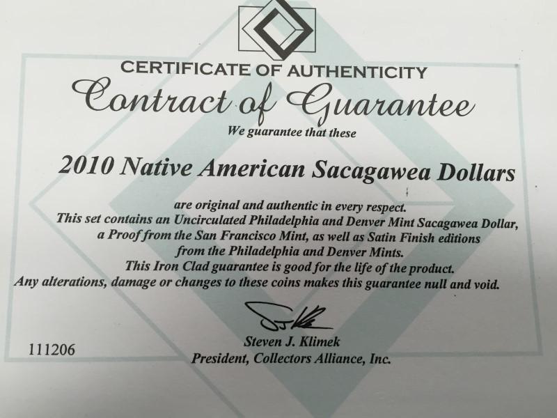 2010 NATIVE AMERICAN SACAGAWEA DOLLARS UNCIRCULATED, SATIN & PROOF