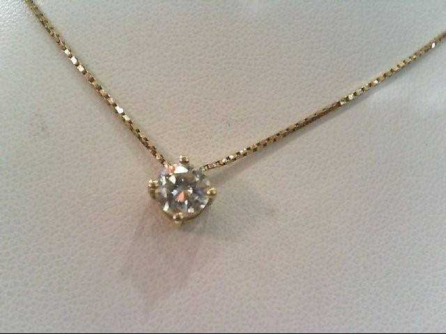 Gold-Diamond Solitaire Pendant .53 CT. 14K Yellow Gold 1.53g