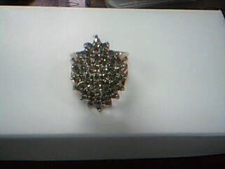 Lady's Diamond Cluster Ring 45 Diamonds 1.80 Carat T.W. 10K Yellow Gold 7.2g