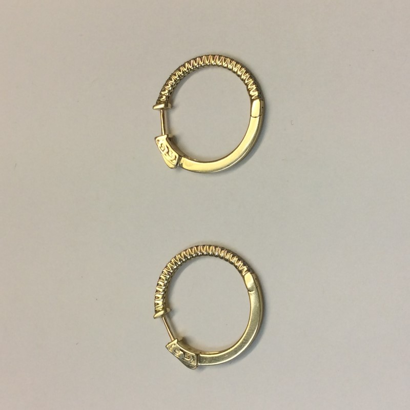 Gold-Diamond Earrings 46 Diamonds .46 Carat T.W. 14K Yellow Gold 4dwt